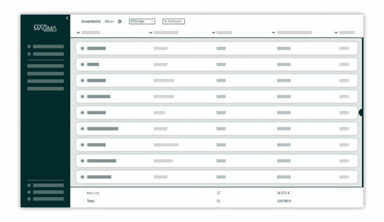 capture ecran de la plateforme magma page inventaire
