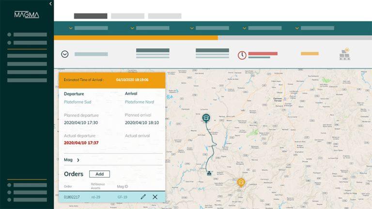 capture écran plateforme magma section livraisons offrant une logistique prédictive