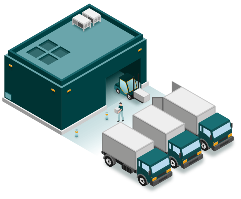 Illustration isométrique d'un entrepôt avec des camions